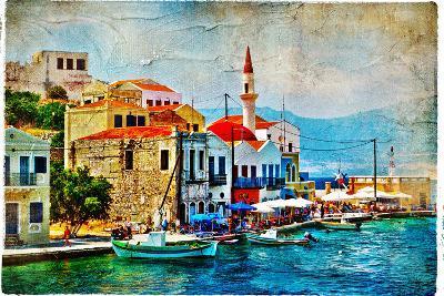 Beautiful Kastelorizo Bay (Greece, Dodecanes) - Artwork In Painting Style