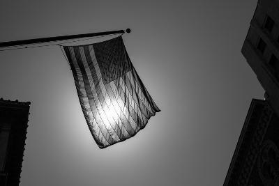 Us American Symbol Flag Over Black And White City Urban Shapes