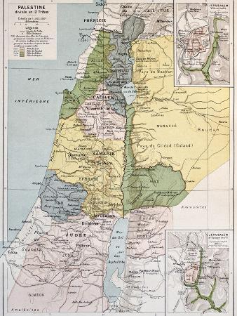 Palestine Tribes Old Map With Jerusalem Insert Maps