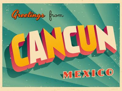Vintage Touristic Greeting Card - Cancun, Mexico