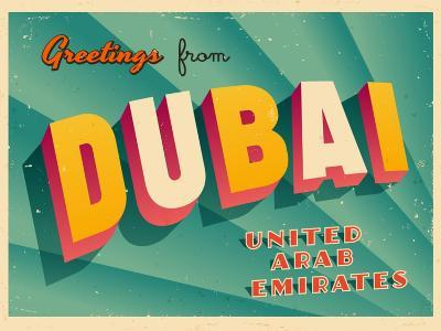 Vintage Touristic Greeting Card - Dubai, United Arab Emirates