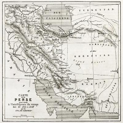Persia Old Map. Created By Vuillemin, Published On Le Tour Du Monde, Paris, 1860