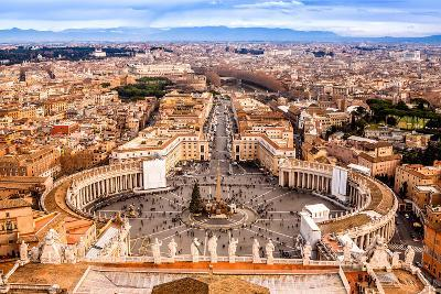 Rome, Italy. Famous Saint Peter'S Square In Vatican And Aerial View Of The City