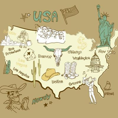 Stylized Map Of America. Things That Different Regions In Usa Are Famous For