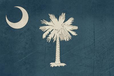Grunge South Carolina State Flag Of America, Isolated On White Background