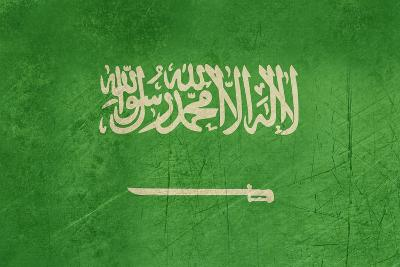 Grunge Sovereign State Flag Of Country Of Saudi Arabia In Official Colors