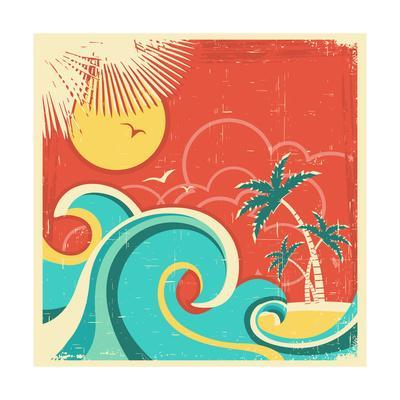 Vintage Tropical Poster With Island And Palms