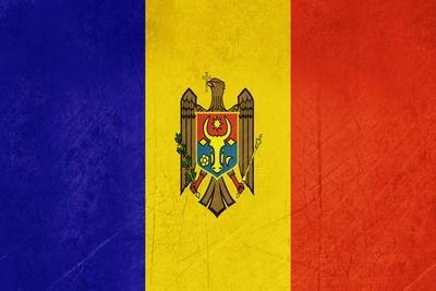 Grunge Sovereign State Flag Of Country Of Moldova In Official Colors