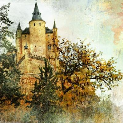 Medieval Castle Alcazar, Segovia,Spain- Picture In Painting Style