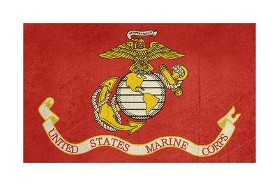 Grunge Illustration Of The United States Marine Corps Flag