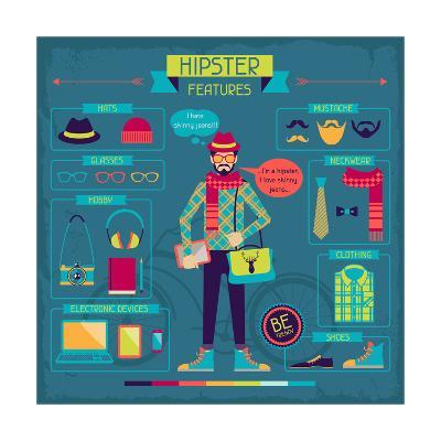 Infographic Elements In Retro Style. Hipster Features