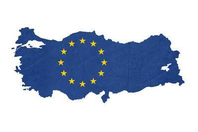 European Flag Map Of Turkey Isolated On White Background