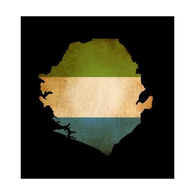 Map Outline Of Sierra Leone With Flag Grunge Paper Effect