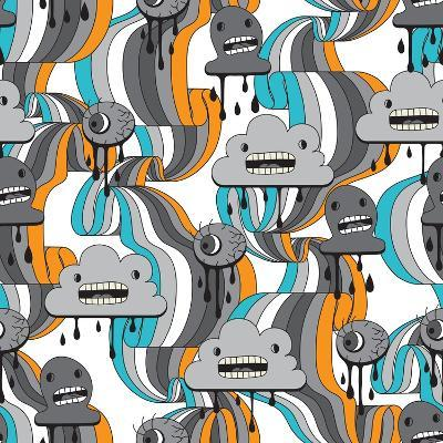 Monsters Modern Seamless Pattern In Retro Style