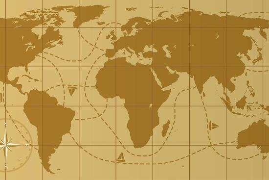Retro World Map With Compass Rose Prints By Dmstudio At Allposters Com
