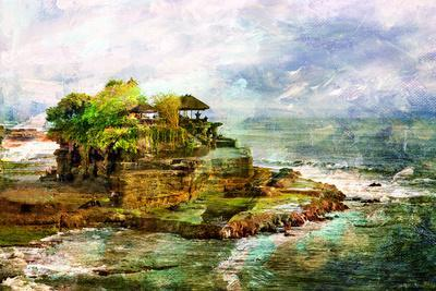 Ancient Balinese Temple - Picture In Painting Style