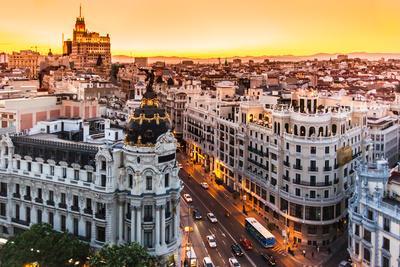 Panoramic View Of Gran Via, Madrid, Spain