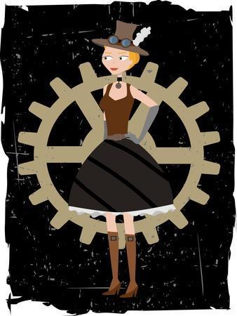 Steampunk Woman On Gear Grunge