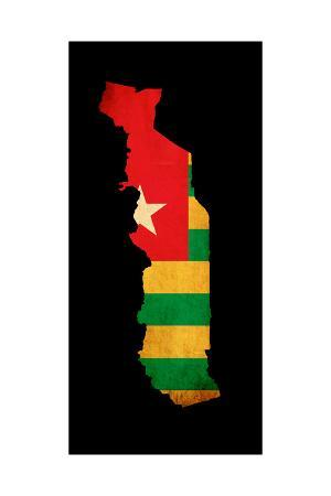 Map Outline Of Togo With Flag Grunge Paper Effect