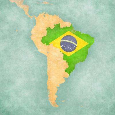 Map Of South America - Brazil (Vintage Series)