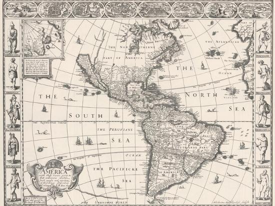 Antique Map Of North America.1626 Antique Map Of North And South America Posters By Sergey Ussr