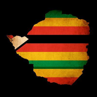 Map Outline Of Zimbabwe With Flag Grunge Paper Effect