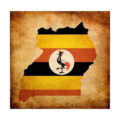 Map Outline Of Uganda With Flag Grunge Paper Effect