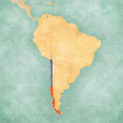 Map Of South America - Chile (Vintage Series)