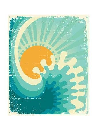 Wave In Ocean.Water Nature Background With Sun.Vintage