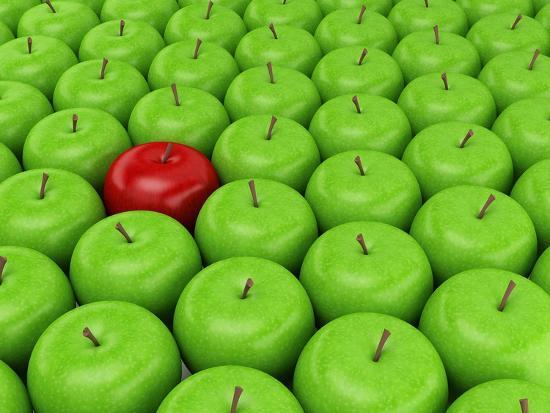 One Red Apple On A Background Of Green Apples Prints By Maestriadiz At Allposters Com