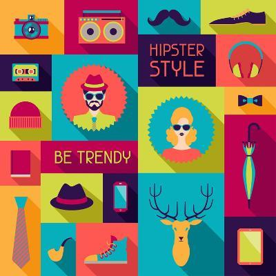 Hipster Background In Flat Design Style