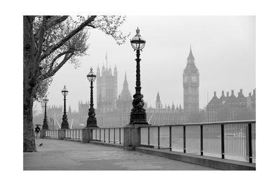 Big Ben And Houses Of Parliament, Black And White Photo
