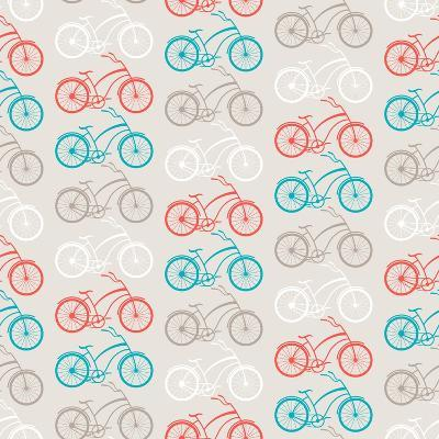 Bicycles Seamless Pattern In Retro Style