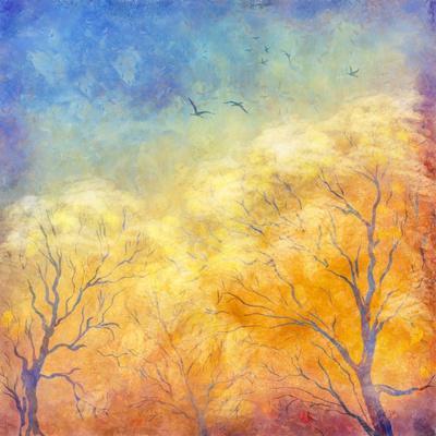 Digital Oil Painting Autumn Trees, Flying Birds