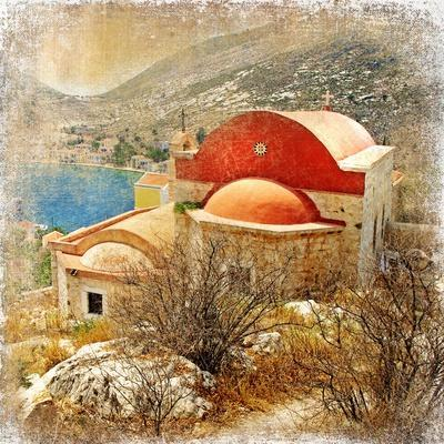Small Greek Monastery -Artistic Retro Styled Picture