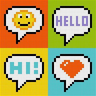 8-Bit Pixel Online Messaging Bubbles