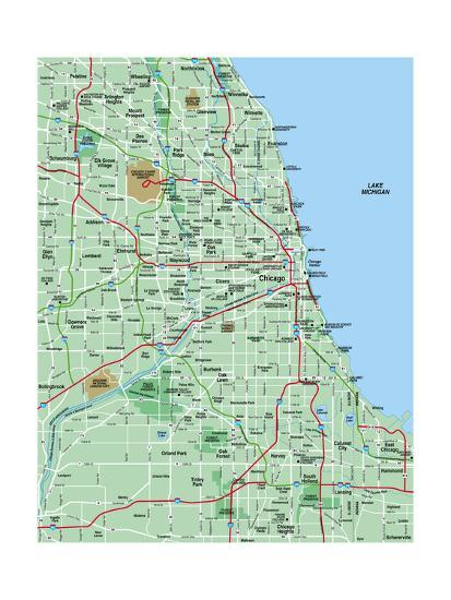 Greater Chicago Metropolitan Area Map Poster by BFordyce at ...