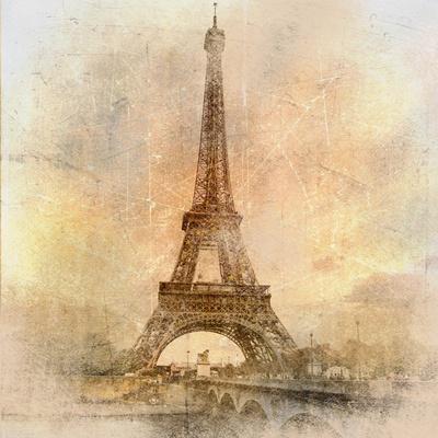 Retro Styled Background - Eiffel Tower