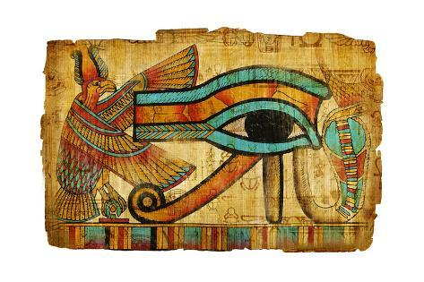 Old Papyrus style Egyptian art  Panoramic Canvas Wall Art Picture Print