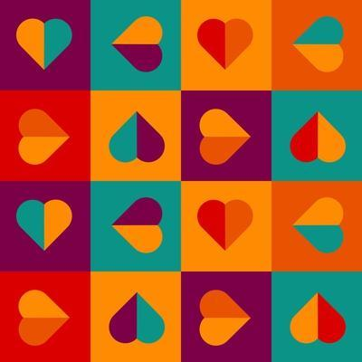 Geometrical Pattern With Hearts