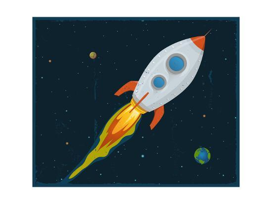 Rocket Ship Blasting Through Space Posters By Benchart At