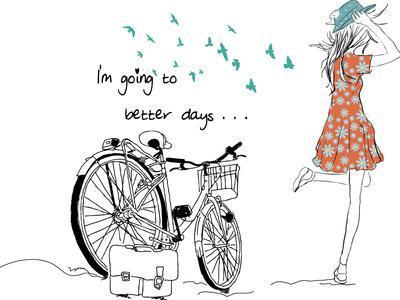 Summer Bicycle Vintage Girl