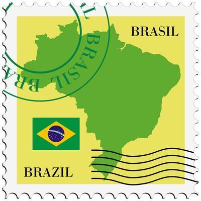 Stamp With Map And Flag Of Brazil