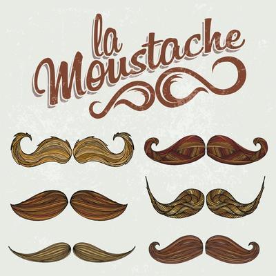 Hand Drawn Brown Mustache Set