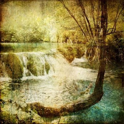 Artwork In Retro Style - Waterfall