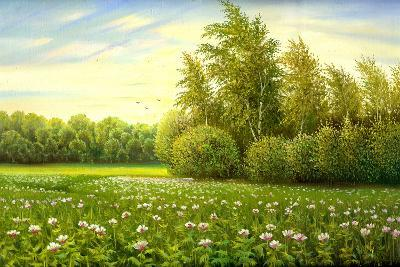 Flower Field With Trees And Bushes