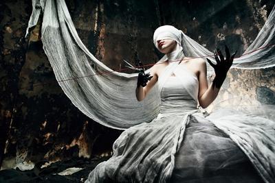 Shot Of A Twilight Girl In White Dress. Halloween, Horror