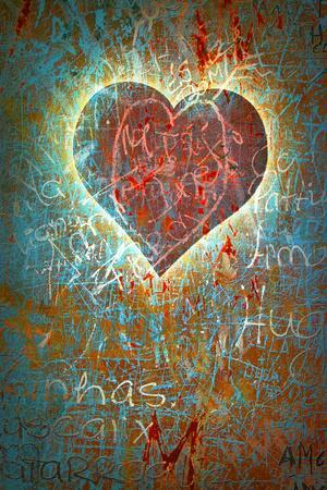 Colorful Grunge Background With Graffiti, Writings, A Heart And A Slight Vignette