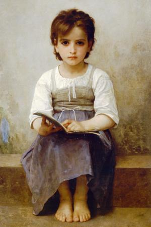 William-Adolphe Bouguereau The Difficult Lesson Plastic Sign