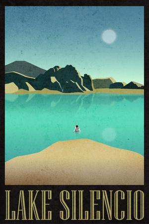 Lake Silencio Retro Travel Plastic Sign